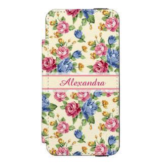 Pastel Romantic blossom Pink, Red, Blue Roses name Incipio Watson™ iPhone 5 Wallet Case