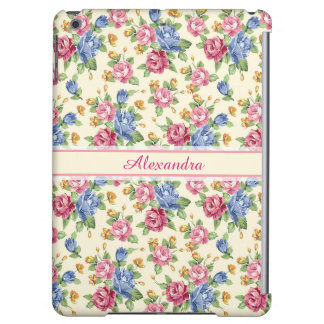 Pastel Romantic blossom Pink, Red, Blue Roses name iPad Air Cover
