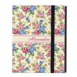 Pastel Romantic blossom Pink, Red, Blue Roses name iPad Case