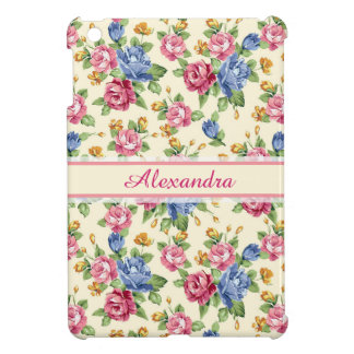 Pastel Romantic blossom Pink, Red, Blue Roses name iPad Mini Cover