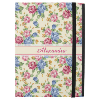 "Pastel Romantic blossom Pink, Red, Blue Roses name iPad Pro 12.9"" Case"