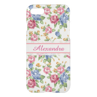 Pastel Romantic blossom Pink, Red, Blue Roses name iPhone 8/7 Case