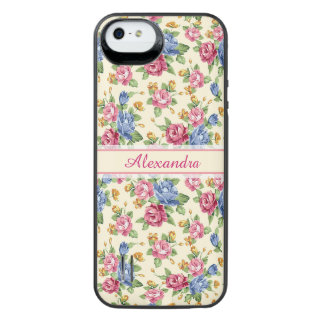 Pastel Romantic blossom Pink, Red, Blue Roses name iPhone SE/5/5s Battery Case