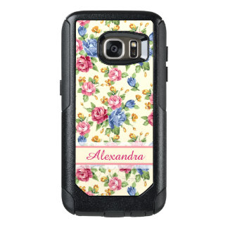 Pastel Romantic blossom Pink, Red, Blue Roses name OtterBox Samsung Galaxy S7 Case