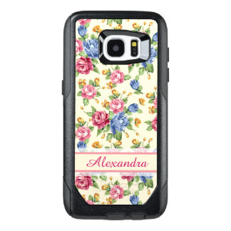 Pastel Romantic blossom Pink, Red, Blue Roses name OtterBox Samsung Galaxy S7 Edge Case
