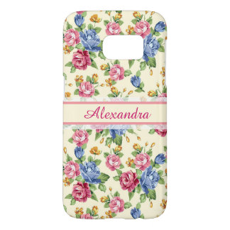 Pastel Romantic blossom Pink, Red, Blue Roses name Samsung Galaxy S7 Case