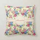 Pastel Romantic blossom Pink, Red, Blue Roses name Throw Pillow