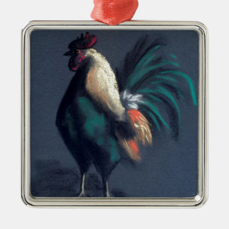 Pastel Rooster Chicken Metal Ornament