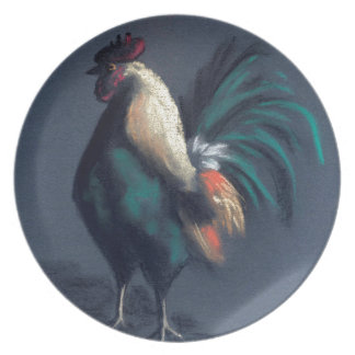 Pastel Rooster Chicken Plate