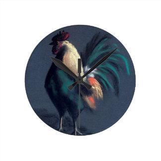 Pastel Rooster Chicken Round Clock