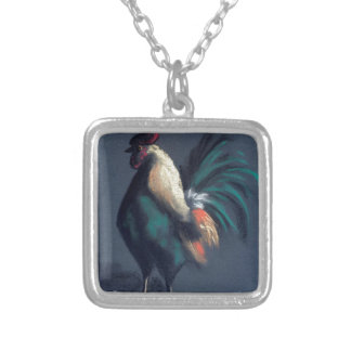 Pastel Rooster Chicken Silver Plated Necklace
