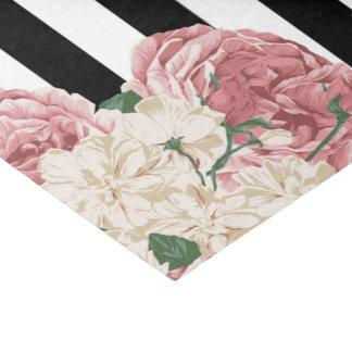 Pastel Rose, Black, White Stripes Tissue Paper