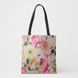 Pastel Roses and Daisies Tote Bag