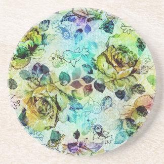 Pastel Roses & Birds Design Coaster