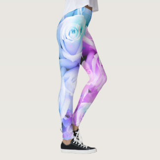 Pastel Roses Floral Athleisure Yoga Pants Leggings