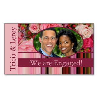 pastel roses photo engagement announcement magnetic business card