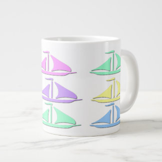 Pastel Sail Boat Pattern Specialty Mugs