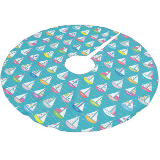 Pastel Sailboat Pattern Brushed Polyester Tree Skirt