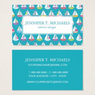 Pastel Sailboat Pattern Business Card