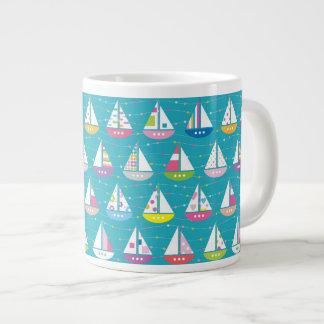 Pastel Sailboat Pattern Large Coffee Mug