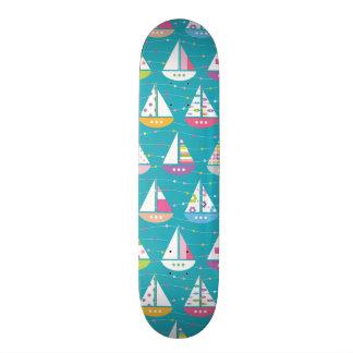 Pastel Sailboat Pattern Skate Deck