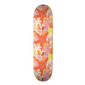 Pastel Sea Creature Pattern Skate Board