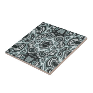 Pastel Sea Foam Green Gray Bali Batik Pattern Tile