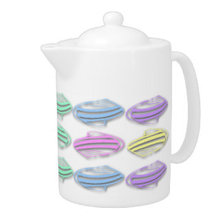 Pastel Sea Shells Pattern Tea Pot