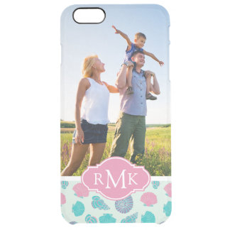 Pastel Seashell Pattern | Your Photo & Monogram Clear iPhone 6 Plus Case