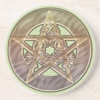 Pastel Shades Pentacle Sandstone Coaster
