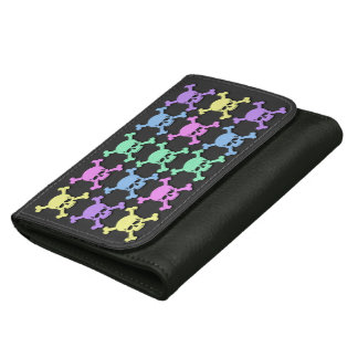 Pastel Skull Pattern Medium Leatherette Wallet