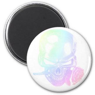 Pastel Skull Rose Magnet