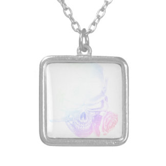 Pastel Skull Rose Silver Plated Necklace