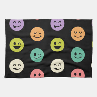 pastel smiley faces hand towel