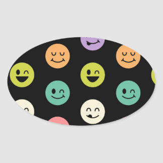 pastel smiley faces oval sticker