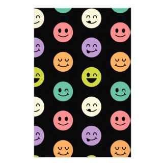 pastel smiley faces stationery design