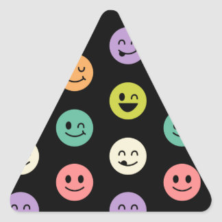 pastel smiley faces triangle sticker