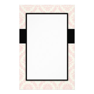 pastel soft light cream and pink damask stationery