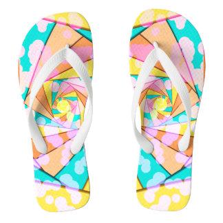 Pastel Sprial Fractal Flip Flops