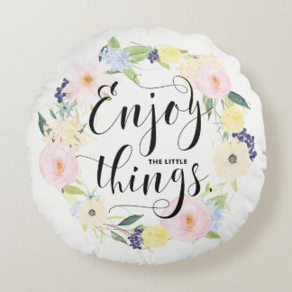 Pastel Spring Floral Wreath Enjoy Whimsical Script Round Pillow