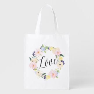 Pastel Spring Floral Wreath | Love Reusable Bag
