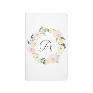 Pastel Spring Floral Wreath Monogram Journal