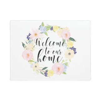 Pastel Spring Floral Wreath Welcome To Our Home Doormat