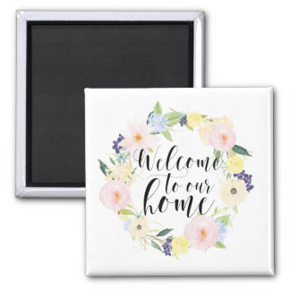 Pastel Spring Floral Wreath Welcome To Our Home Magnet