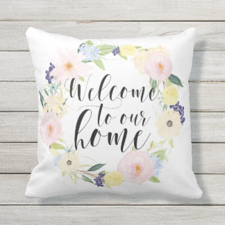 Pastel Spring Floral Wreath Welcome To Our Home Outdoor Pillow