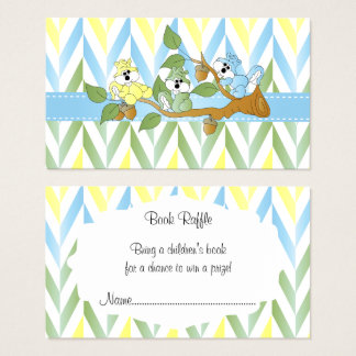 Pastel Squirrel Baby Boy Shower - Book Raffle Business Card