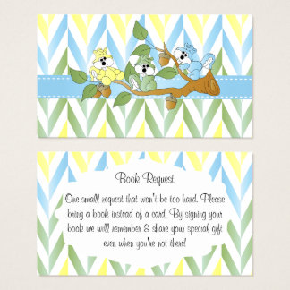 Pastel Squirrel Baby Boy Shower - Book Request Business Card