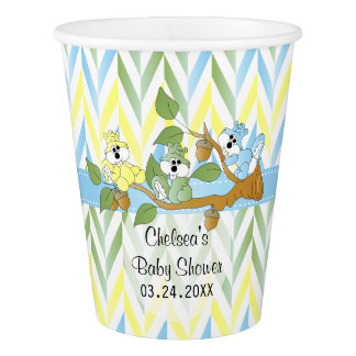 Pastel Squirrel Baby Boy Shower Paper Cup