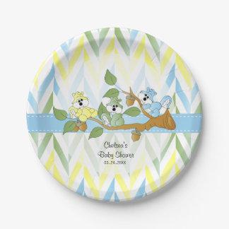 Pastel Squirrel Baby Boy Shower Paper Plate