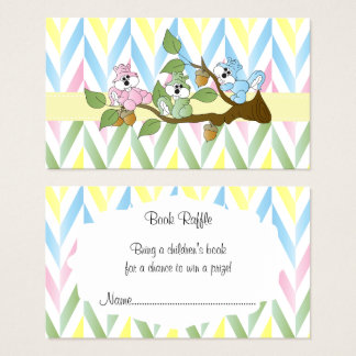 Pastel Squirrel Baby Girl Shower - Book Raffle Business Card